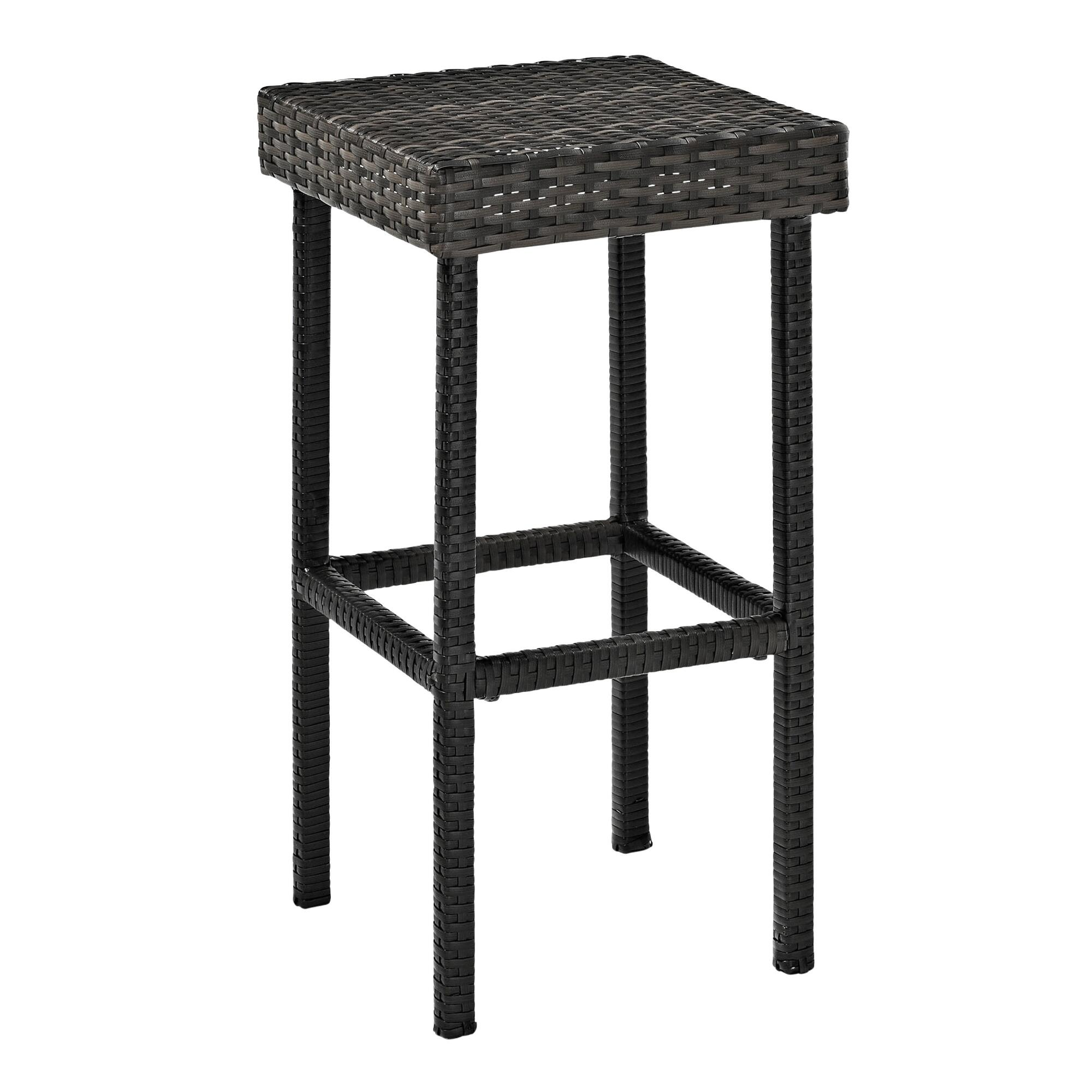 Gray All Weather Wicker Pinamar Outdoor Patio Barstools Set of 2 by World Market