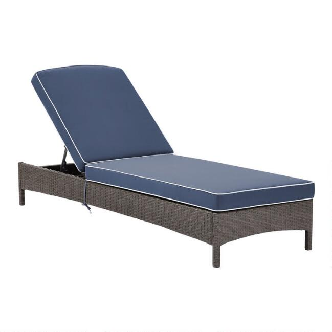 Gray All Weather Pinamar Outdoor Chaise and Navy Cushion