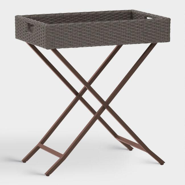 Gray All Weather Wicker Pinamar Outdoor Butler Tray Table