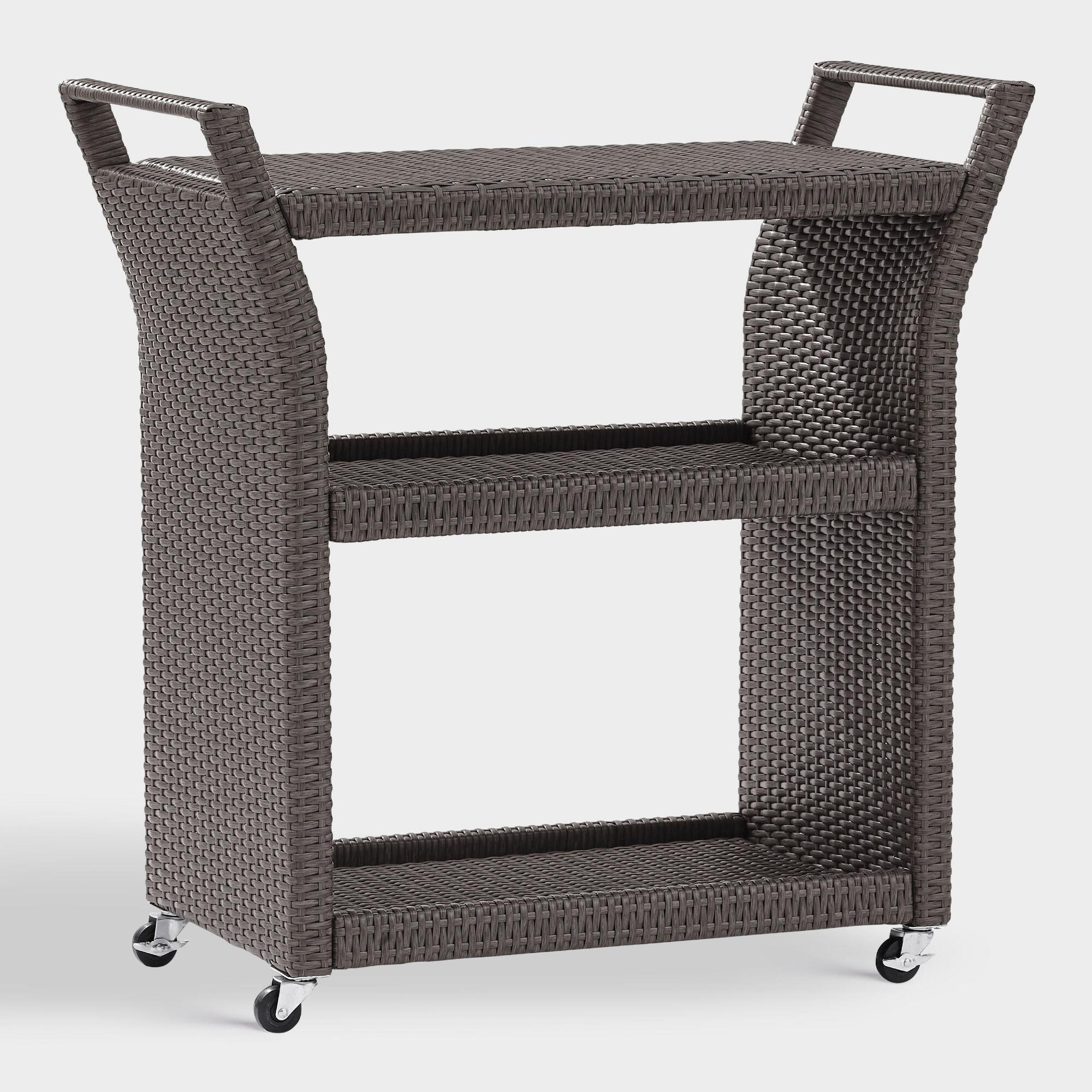 Gray All Weather Wicker Pinamar Outdoor Patio Rolling Bar Cart by World Market