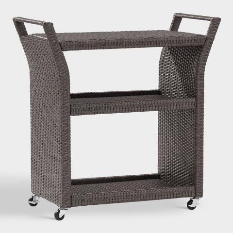 Gray All Weather Wicker Pinamar Outdoor Rolling Bar Cart