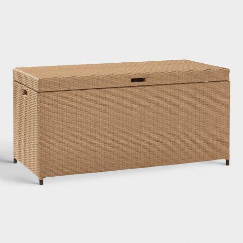 Natural All Weather Wicker Pinamar Outdoor Storage Chest World Market