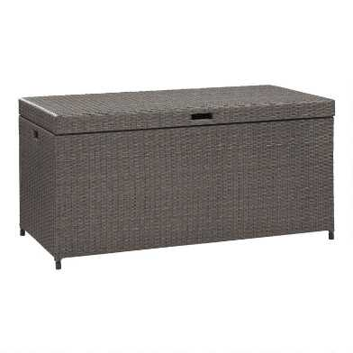 Gray All Weather Wicker Pinamar Outdoor Storage Chest