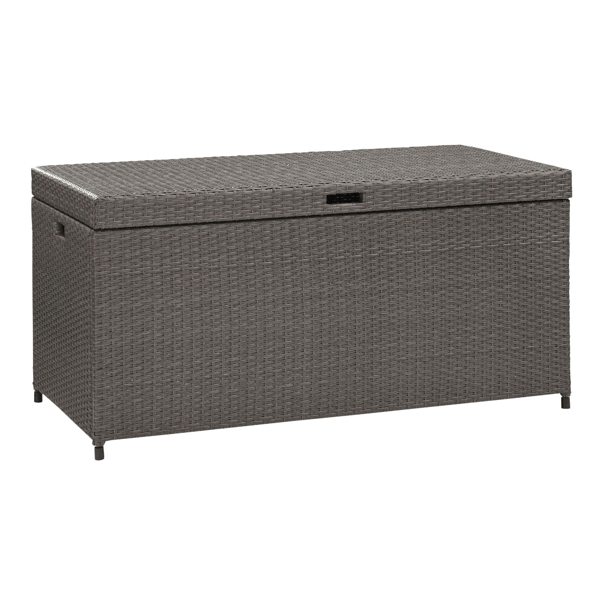 Gray All Weather Wicker Pinamar Outdoor Patio Storage Chest by World Market