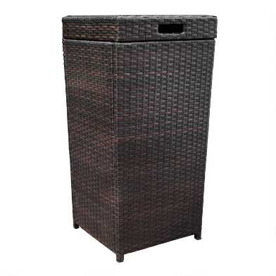 Espresso All Weather Wicker Pinamar Outdoor Trash Can