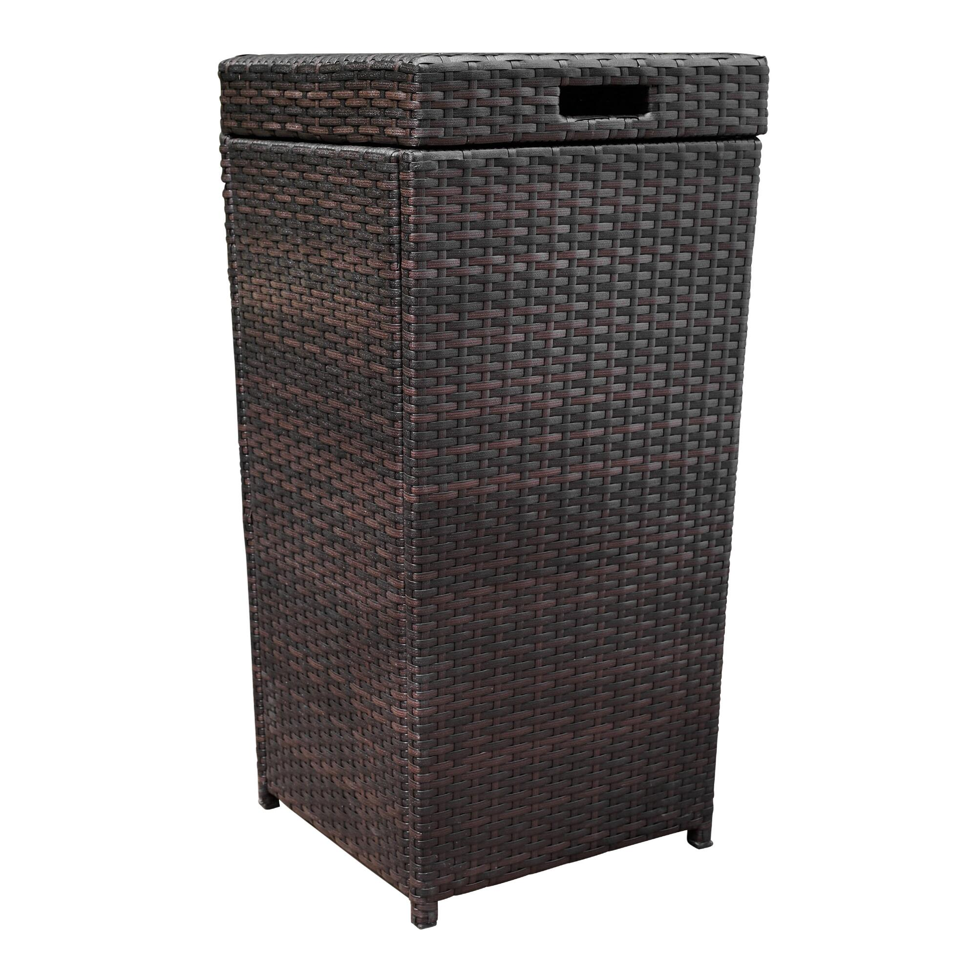 Espresso All Weather Wicker Pinamar Outdoor Patio Trash Can by World Market