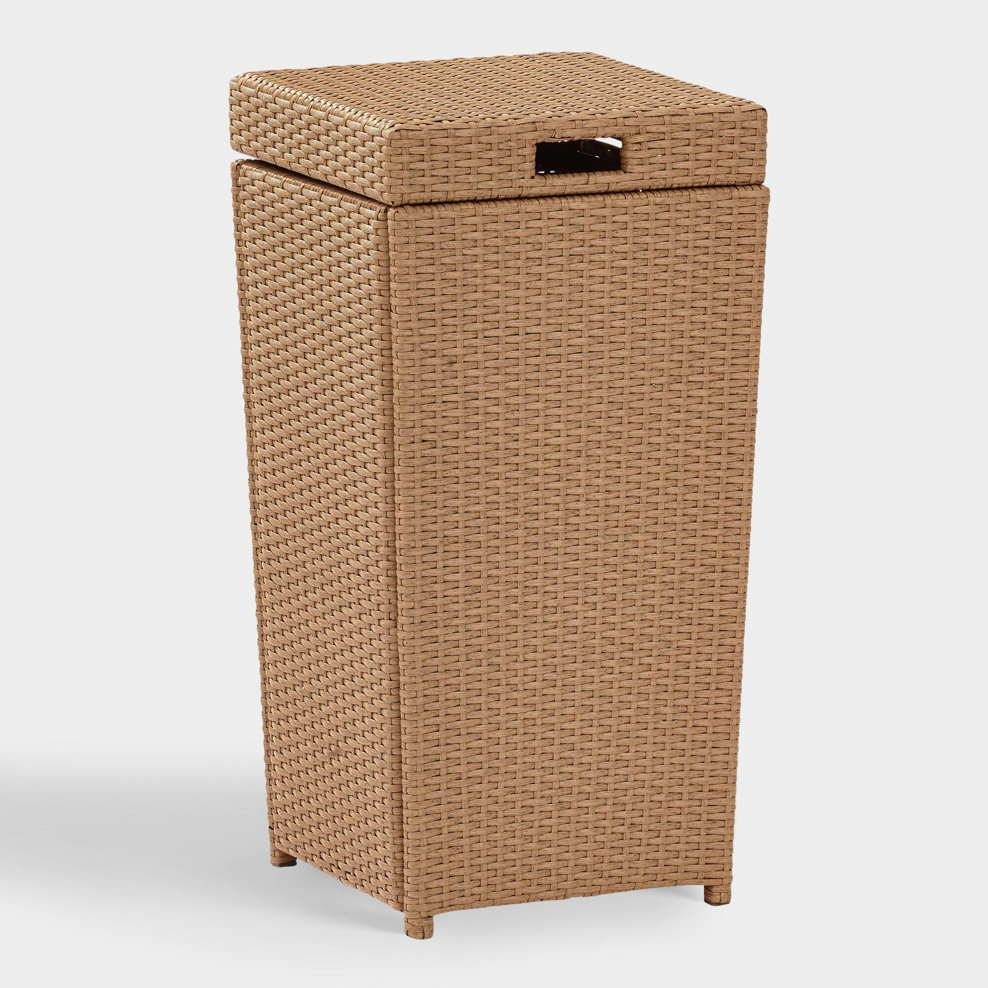 Natural All Weather Wicker Pinamar Outdoor Patio Trash Can by World Market