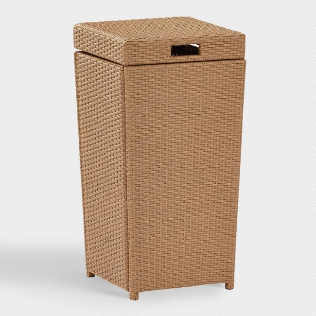 Natural All Weather Wicker Pinamar Outdoor Trash Can
