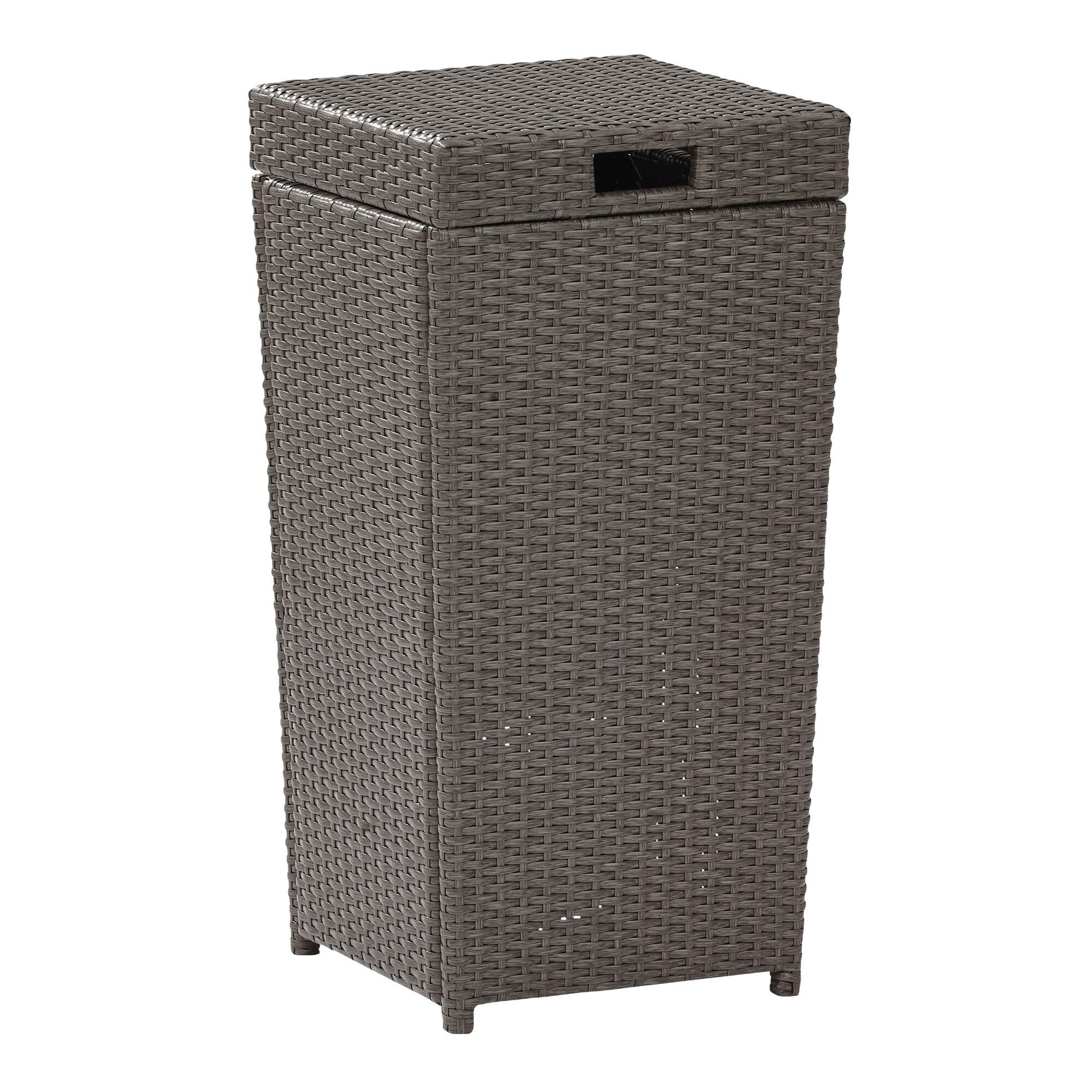 Gray All Weather Wicker Pinamar Outdoor Patio Trash Can by World Market