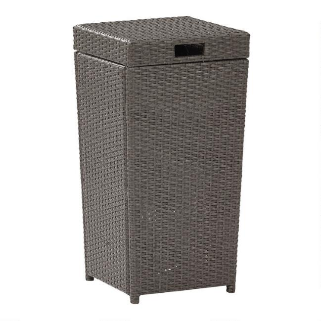 Gray All Weather Wicker Pinamar Outdoor Trash Can
