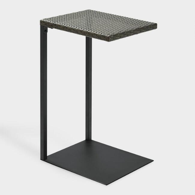 Gray All Weather Wicker Pinamar Outdoor Laptop Table