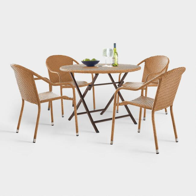 Natural All Weather Pinamar 5 Piece Outdoor Cafe Dining Set