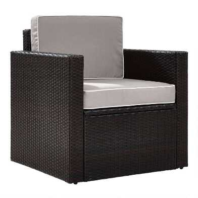 Espresso All Weather Pinamar Outdoor Chair with Gray Cushion