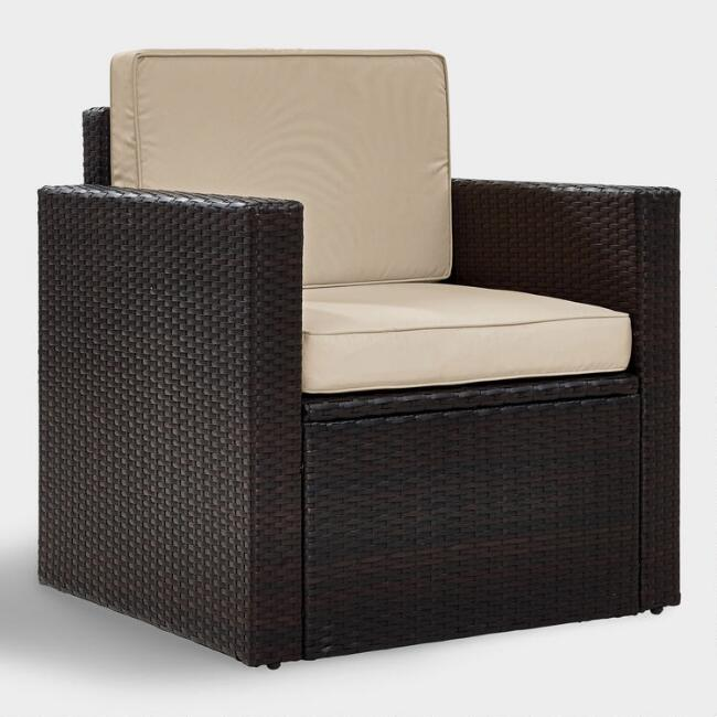 Espresso All Weather Pinamar Outdoor Chair with Sand Cushion