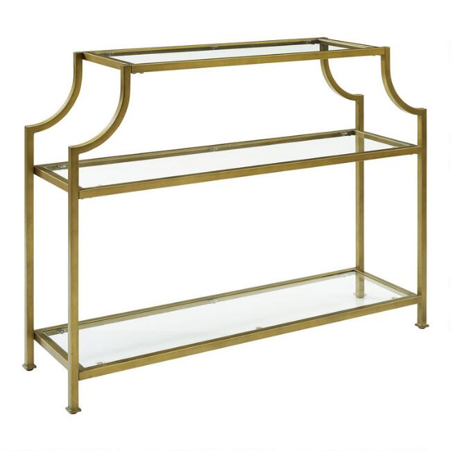 Gold Metal and Glass Milayan Console Table