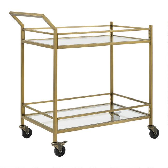 Metal and Glass Milayan Bar Cart
