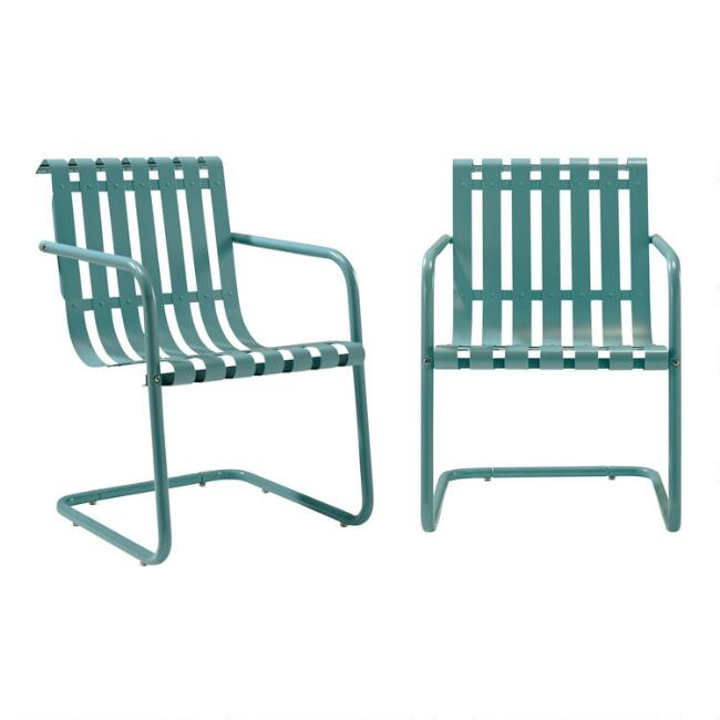 Turquoise Metal Aubrey Outdoor Armchairs Set of 2