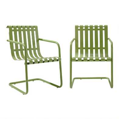Green Metal Aubrey Outdoor Armchairs Set of 2