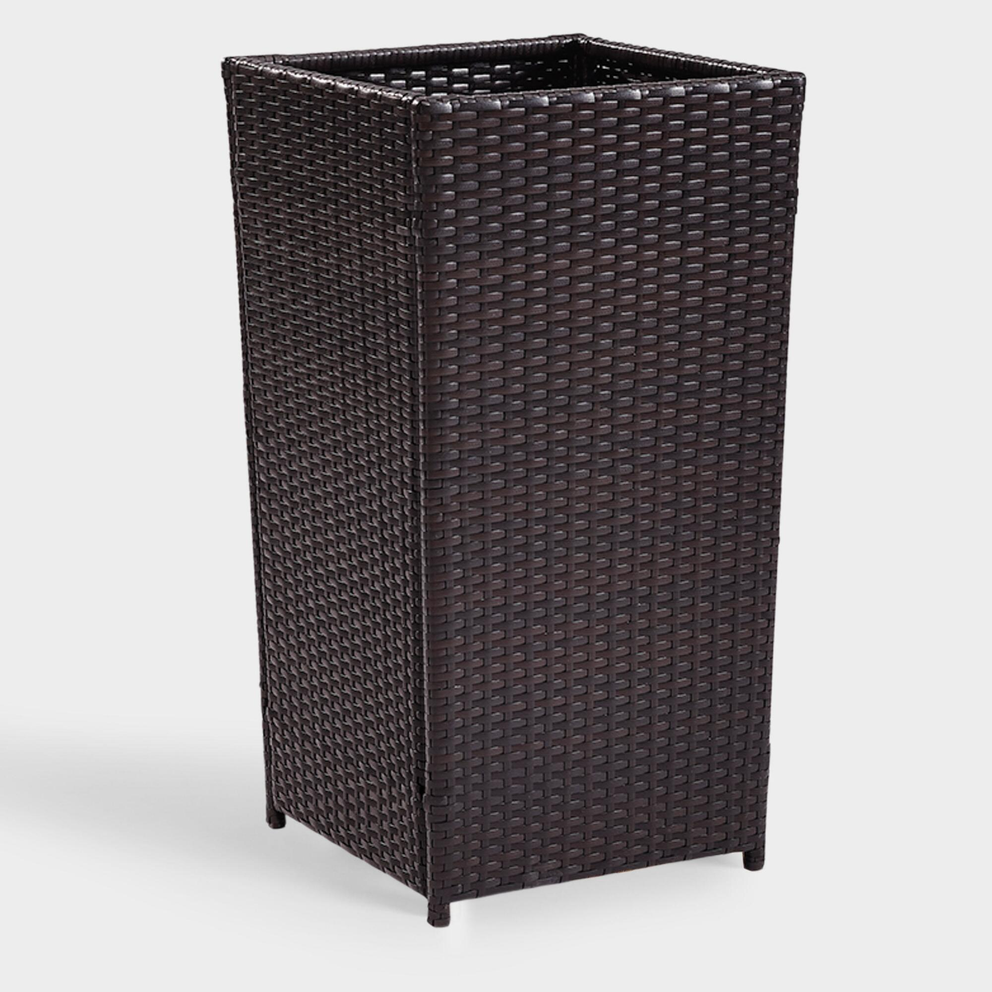 Large Espresso All Weather Wicker Pinamar Outdoor Patio Planter by World Market