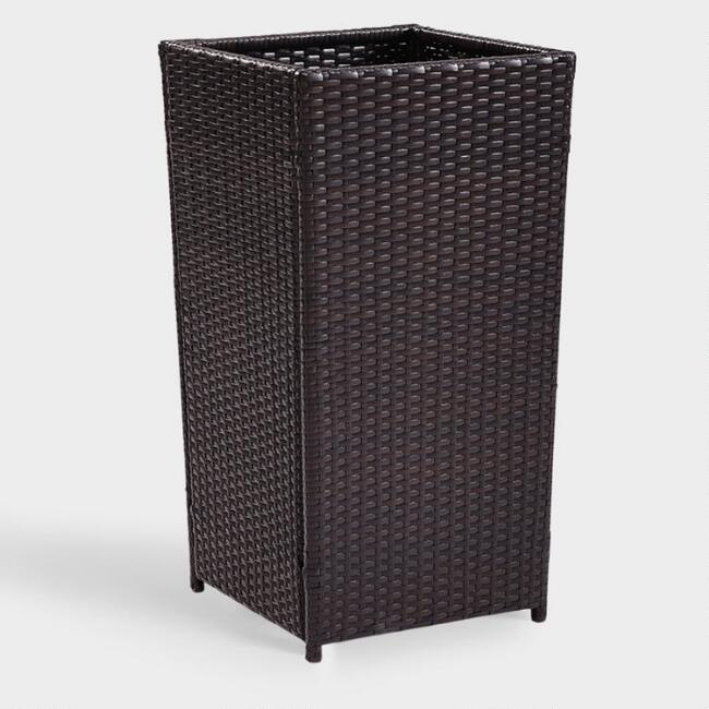Large Espresso All Weather Wicker Pinamar Outdoor Planter