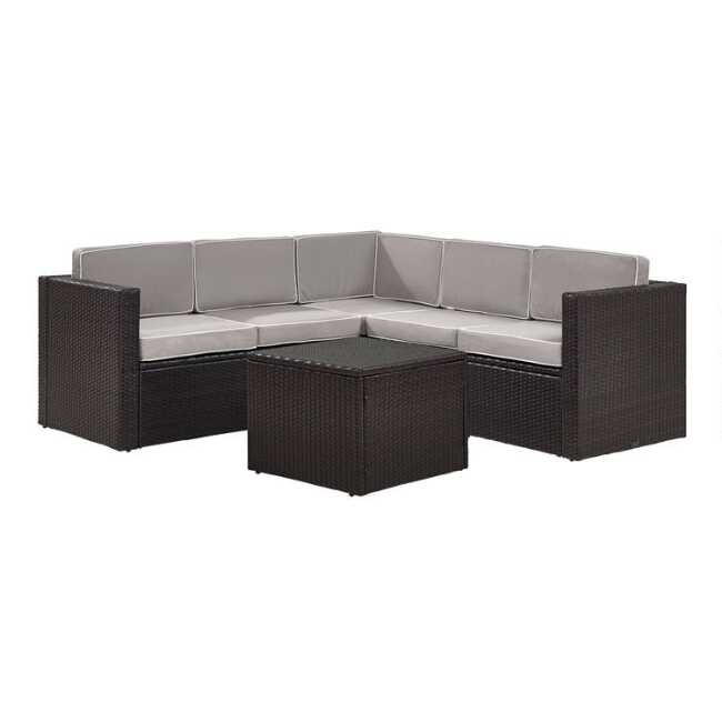 Espresso All Weather 6 Pc Outdoor Sectional & Gray Cushions