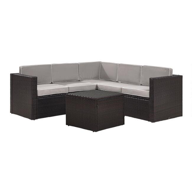 Espresso and Gray All Weather Pinamar 6 Pc Outdoor Sectional