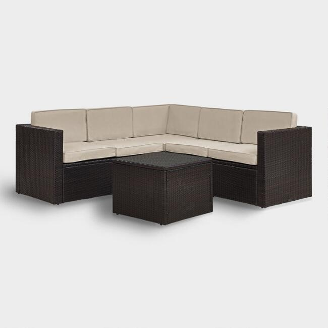Espresso All Weather 6 Pc Outdoor Sectional & Sand Cushions