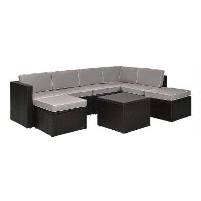 Espresso and Gray All Weather Pinamar 8 Pc Outdoor Sectional
