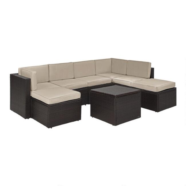 Espresso All Weather 8 Pc Outdoor Sectional & Sand Cushions