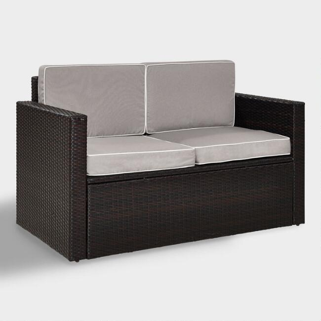Espresso All Weather Pinamar Love Seat with Gray Cushions
