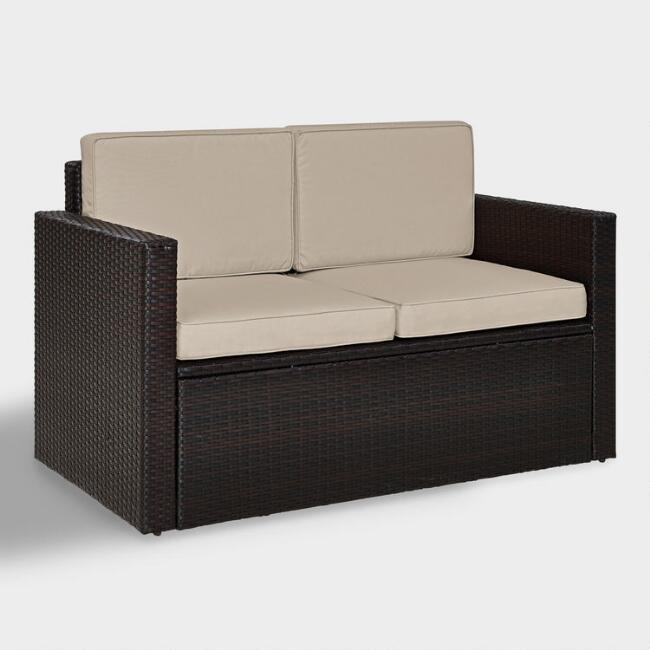 Espresso All Weather Pinamar Loveseat with Sand Cushions