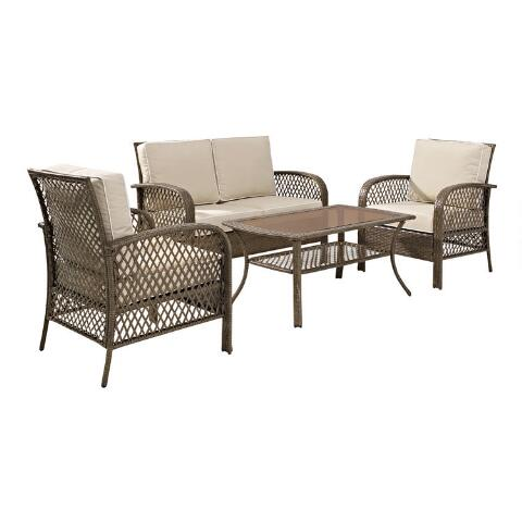 v1 - Driftwood All Weather 4 Piece Aviana Outdoor Occasional Set World