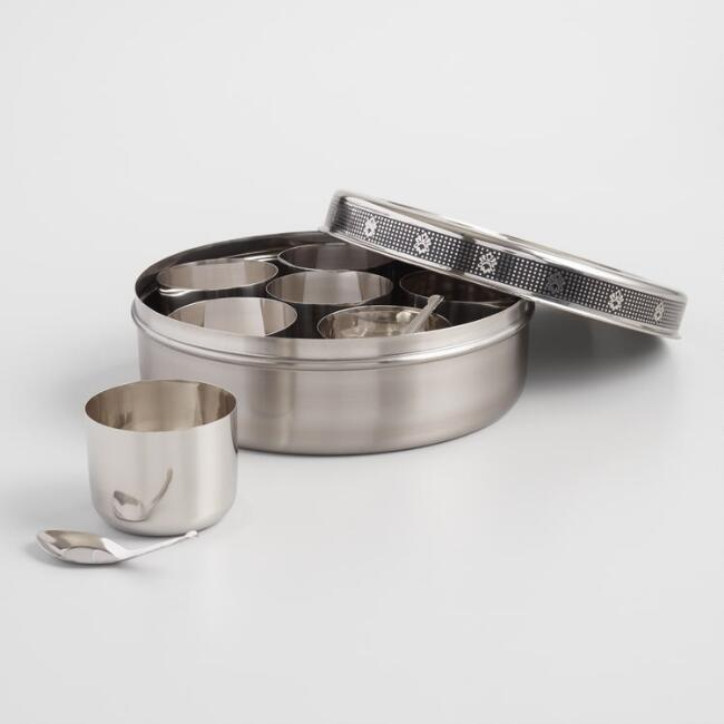 Etched Floral Stainless Steel Indian Spice Storage Tin
