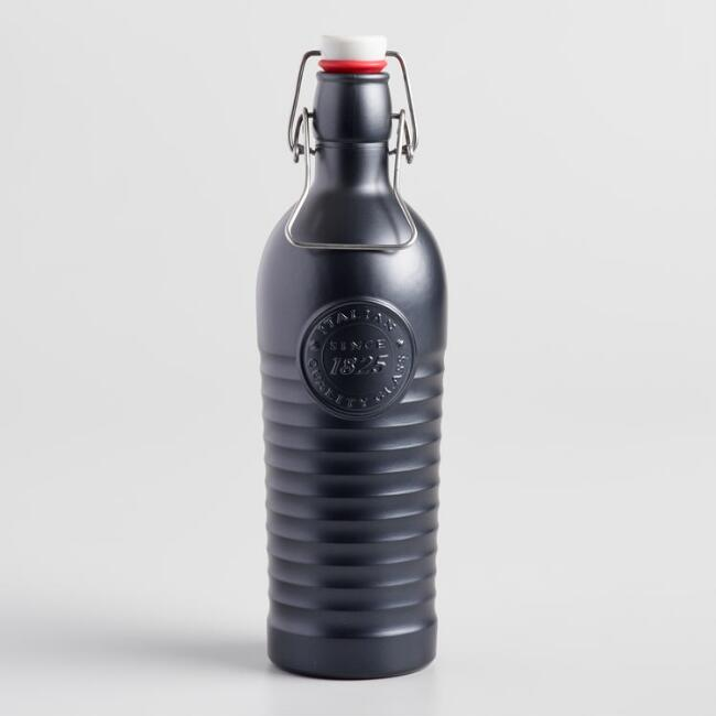 Matte Black Bormioli Rocco Officina 1825 Glass Bottle