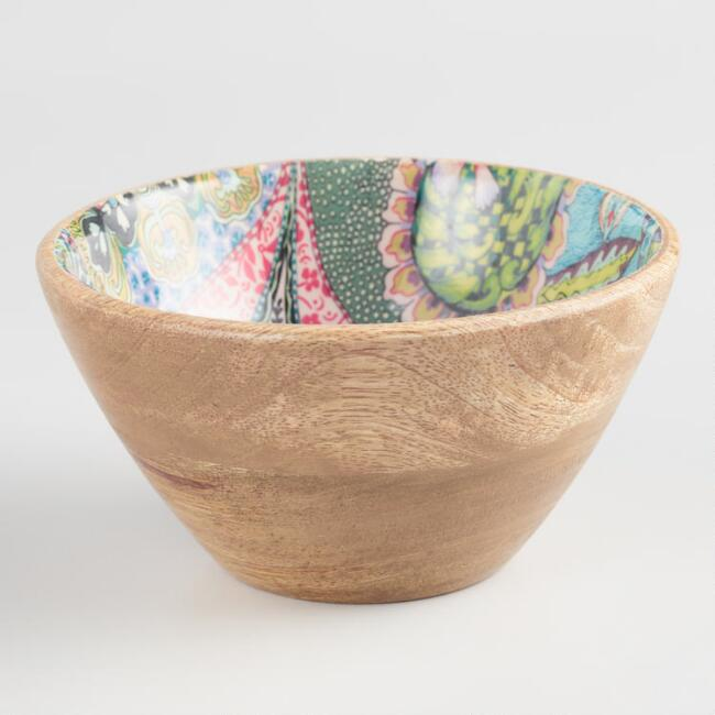 Small Multicolor Enamel Wood Janice Bowl