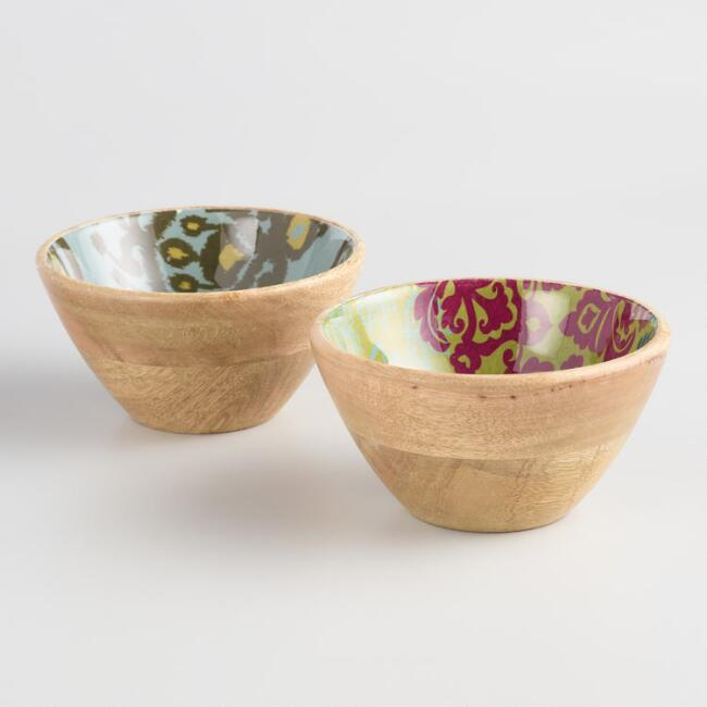 Small Ginger and Yosemite Enamel Wood Bowls Set of 2