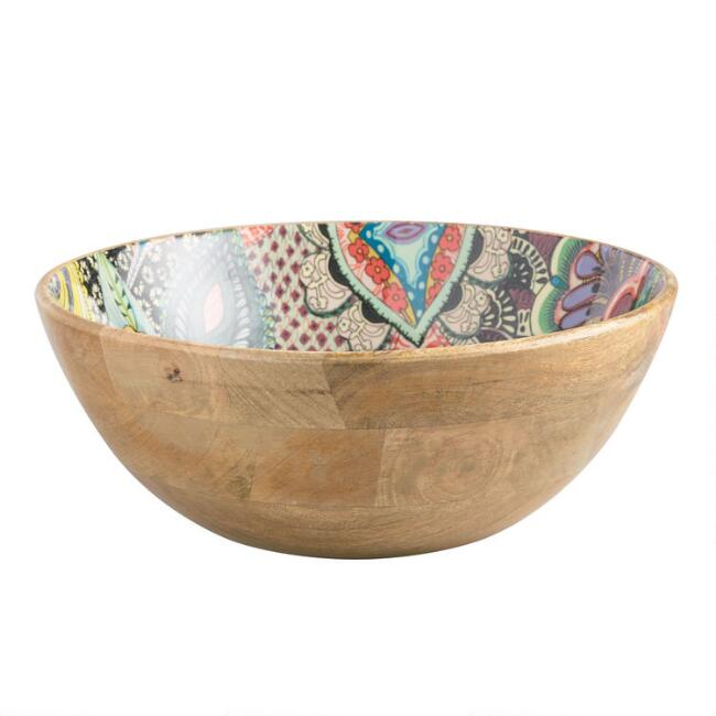 Large Multicolor Enamel Wood Janice Bowl