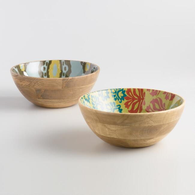 Enamel Wood Ginger and Yosemite Serving Bowls Set of 2