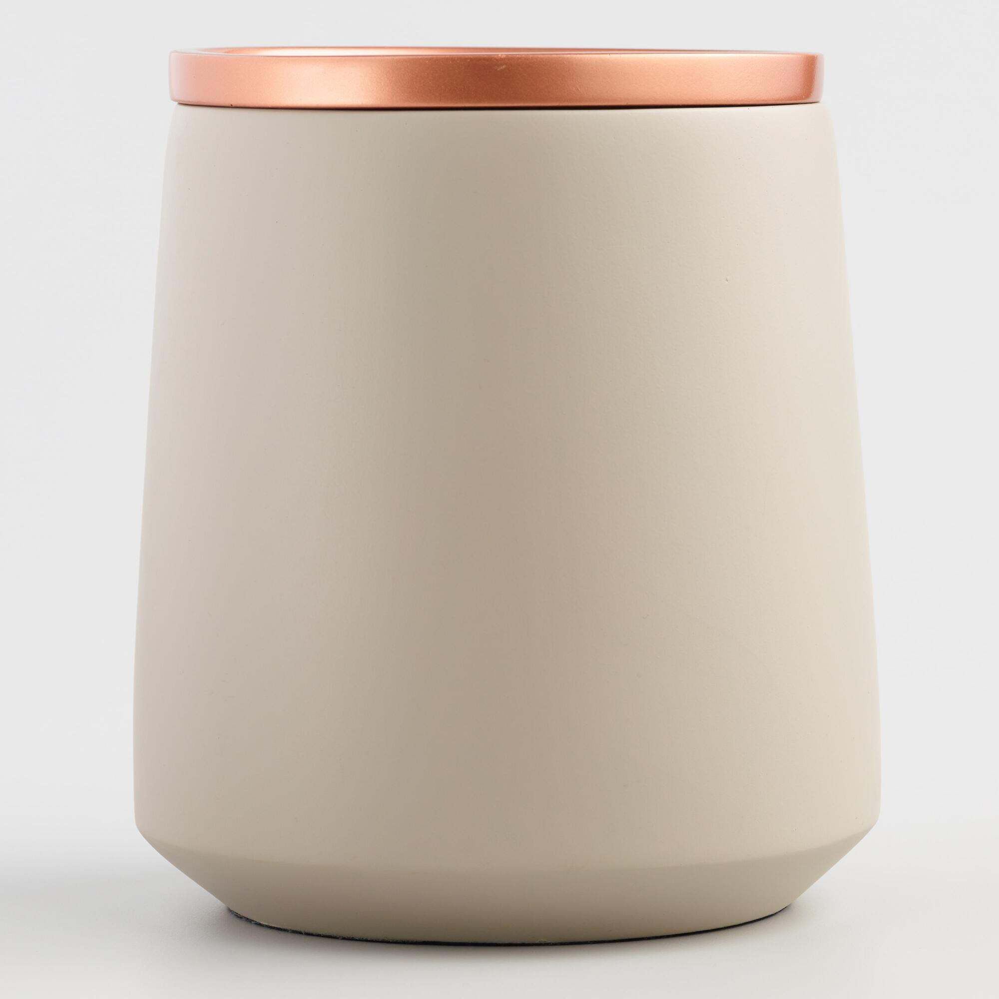 Large Gray Ceramic Storage Canister with Copper Lid by World Market
