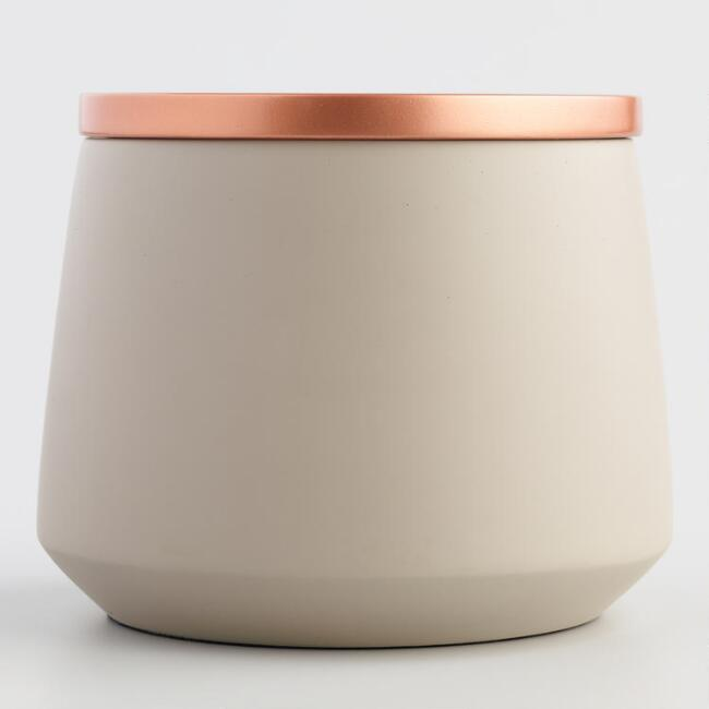 Small Gray Ceramic Storage Canister with Copper Lid