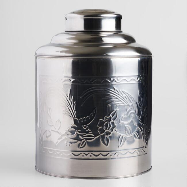 Large Embossed Crane Stainless Steel Storage Canister