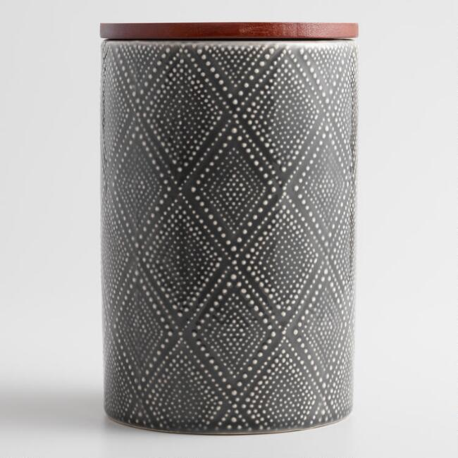 Large Gray Textured Diamond Ceramic Canister with Wood Lid