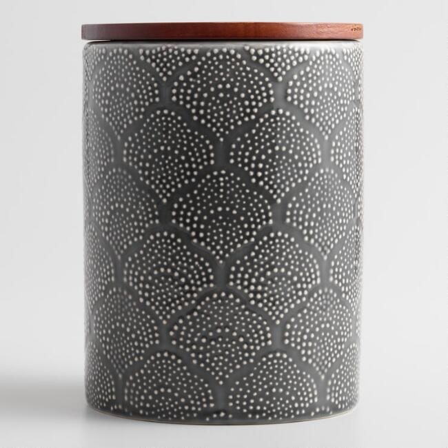 Medium Gray Textured Floral Ceramic Canister with Wood Lid
