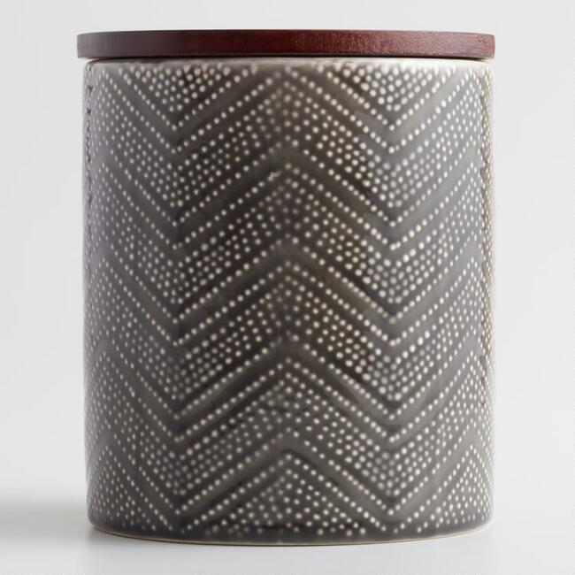 Small Gray Textured Zigzag Ceramic Canister with Wood Lid