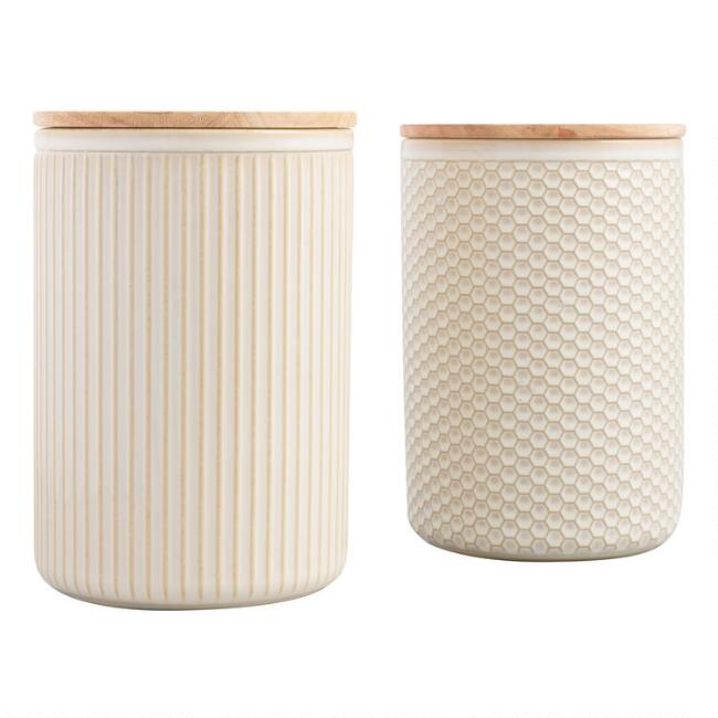 Large Natural Textured Ceramic Canisters with Lids Set of 2