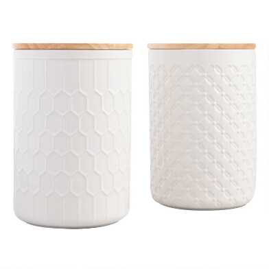 Large White Textured Ceramic Canisters with Lids Set of 2