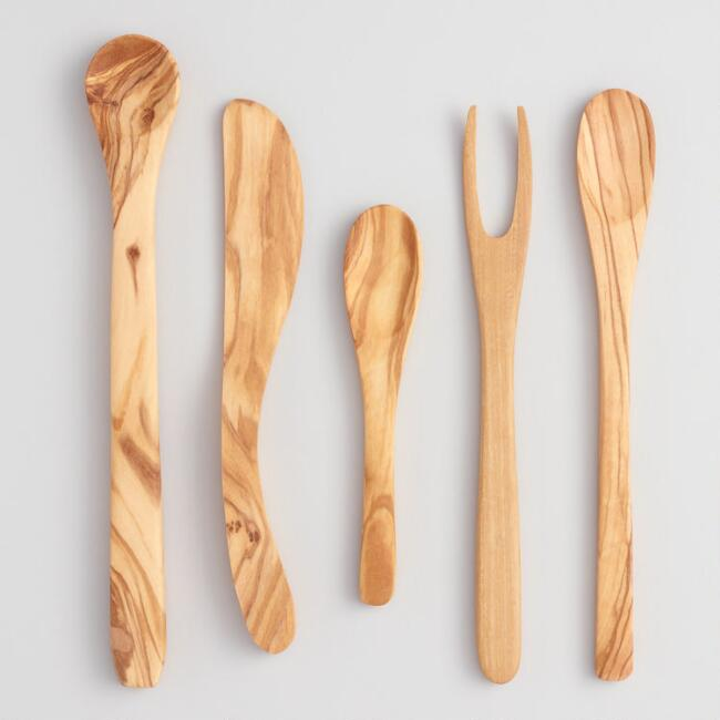 Olive Wood Charcuterie and Cheese Serving Utensils 5 Pack