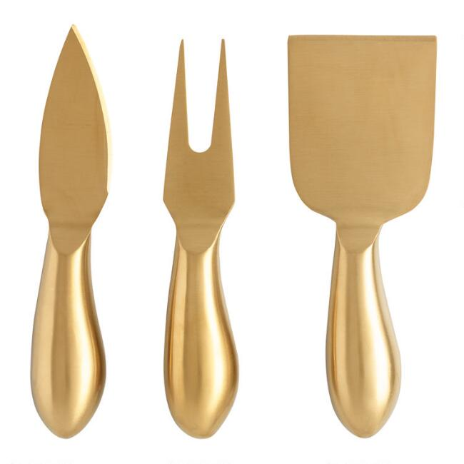 Rumbled Gold Cheese Knives 3 Pack