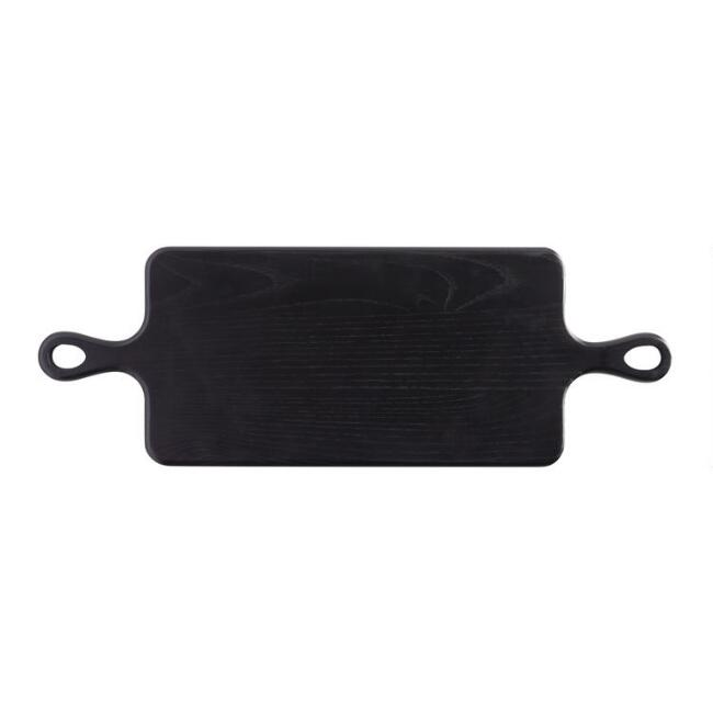 Black Wood Double Handle Paddle Serving Board