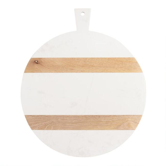 Large Round White Marble and Wood Paddle Cutting Board